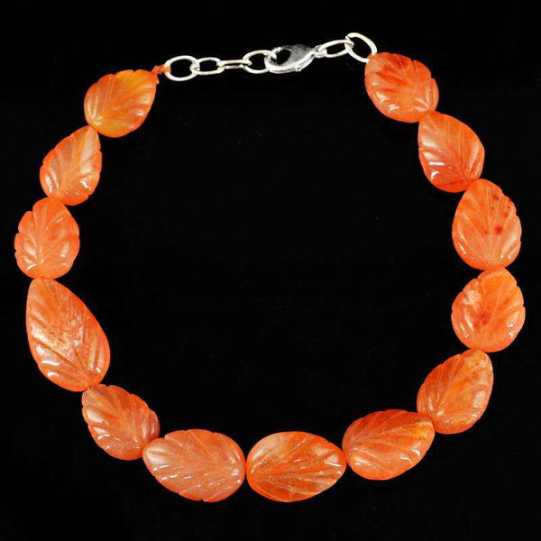 gemsmore:Natural Orange Carnelian Carved Beads Bracelet - Pear Shape