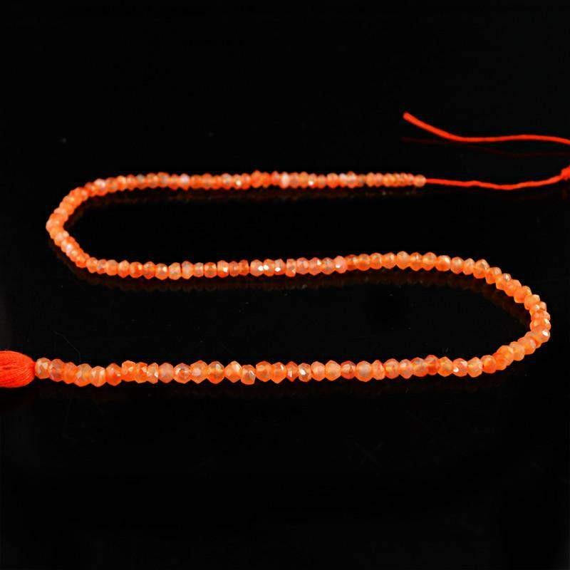 gemsmore:Natural Orange Carnelian Faceted Beads Strand