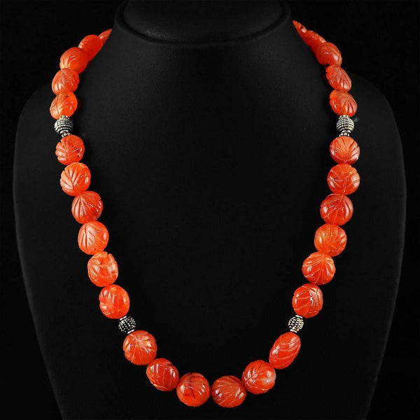 gemsmore:Natural Orange Carnelian Necklace 20 Inches Long Unheated Carved Beads