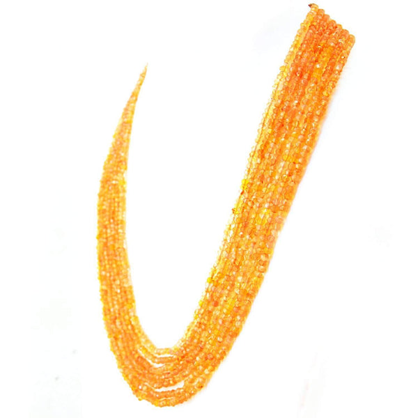 gemsmore:Natural Orange Carnelian Necklace 7 Line Round Shape Faceted Beads