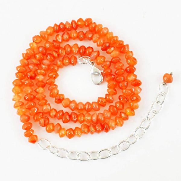 gemsmore:Natural Orange Carnelian Necklace 91.50 Cts Unheated Round Shape Beads