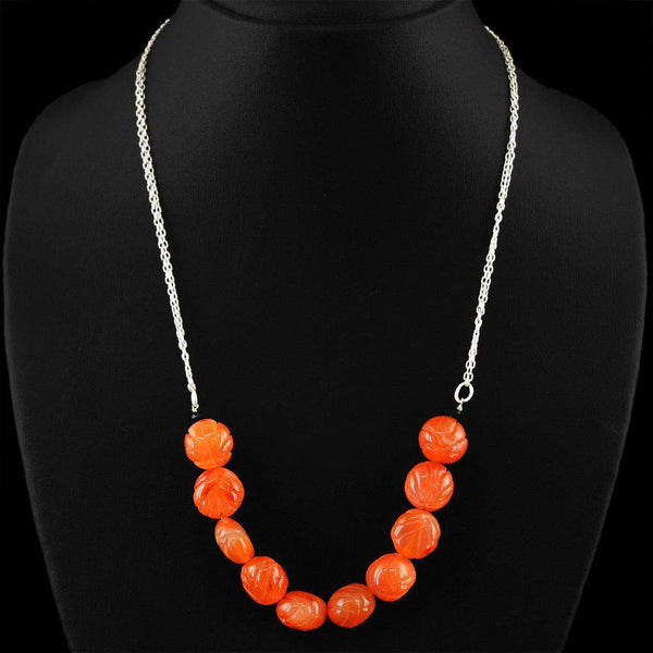 gemsmore:Natural Orange Carnelian Necklace Round Carved Beads