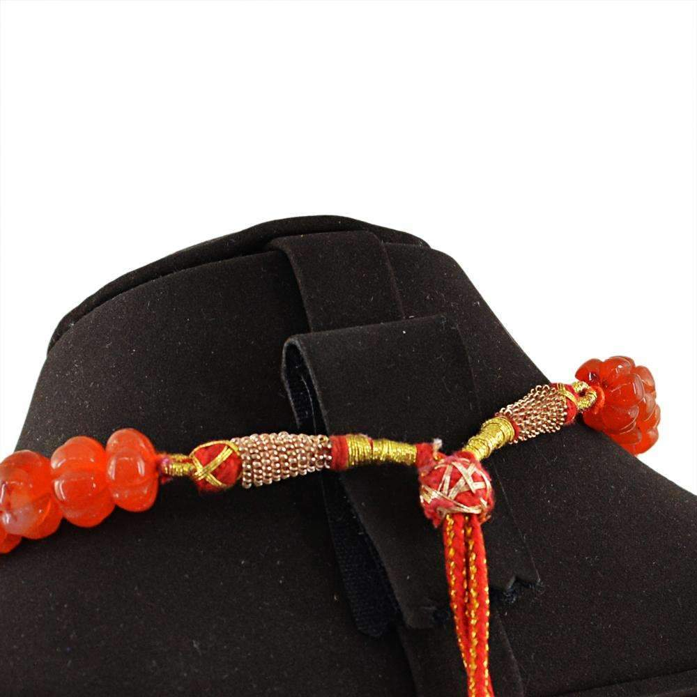 gemsmore:Natural Orange Carnelian Necklace Round Shape Carved Beads