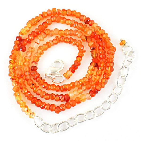 gemsmore:Natural Orange Carnelian Necklace Round Shape Faceted Beads