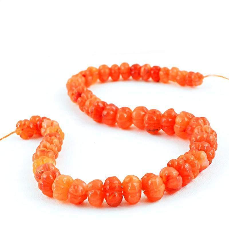gemsmore:Natural Orange Carnelian Round Carved Beads Strand