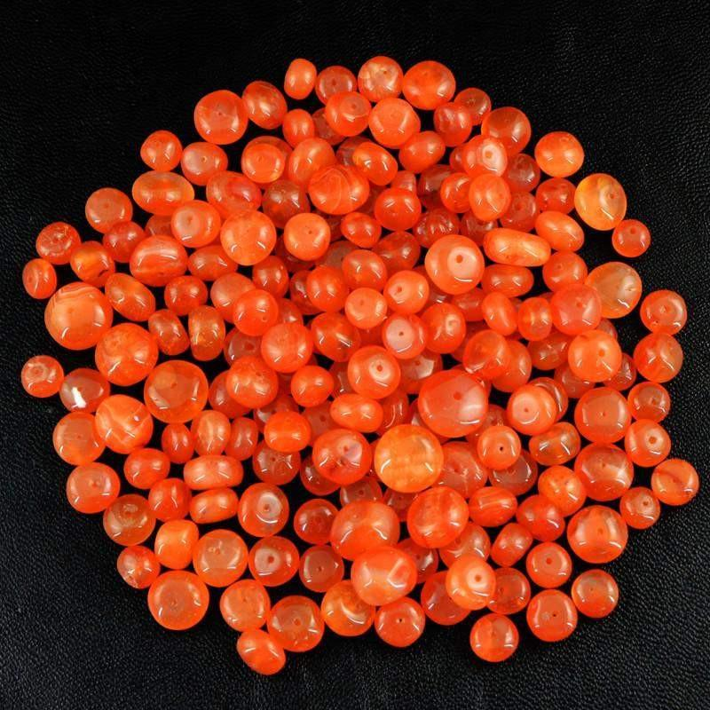 gemsmore:Natural Orange Carnelian Round Drilled Beads Lot