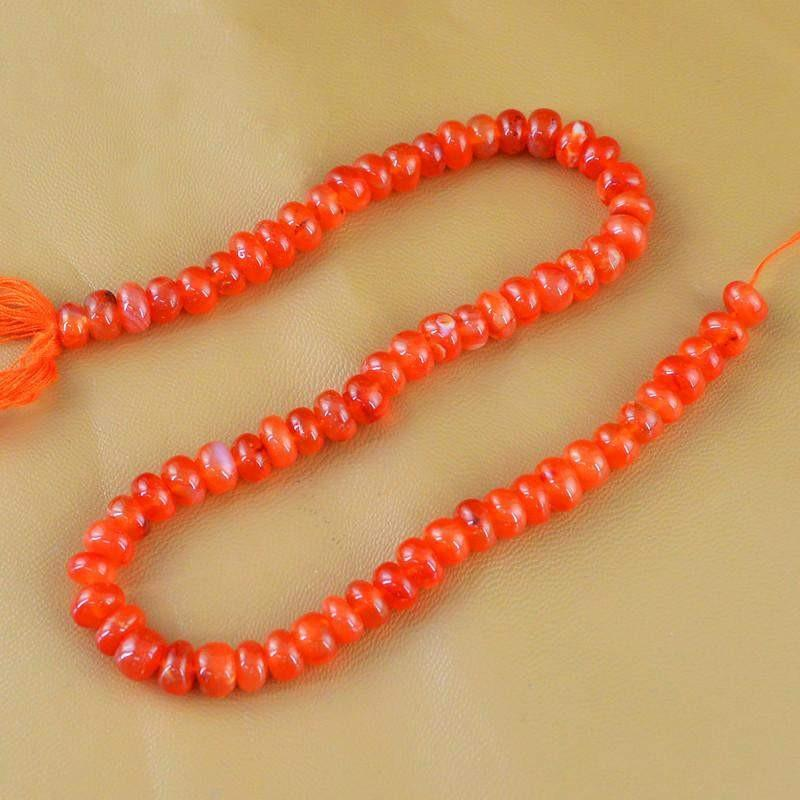 gemsmore:Natural Orange Carnelian Round Shape Beads Strand