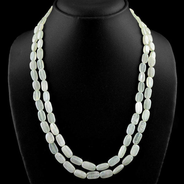 gemsmore:Natural Oval Shape Green Aquamarine Necklace 2 Strand Untreated Beads