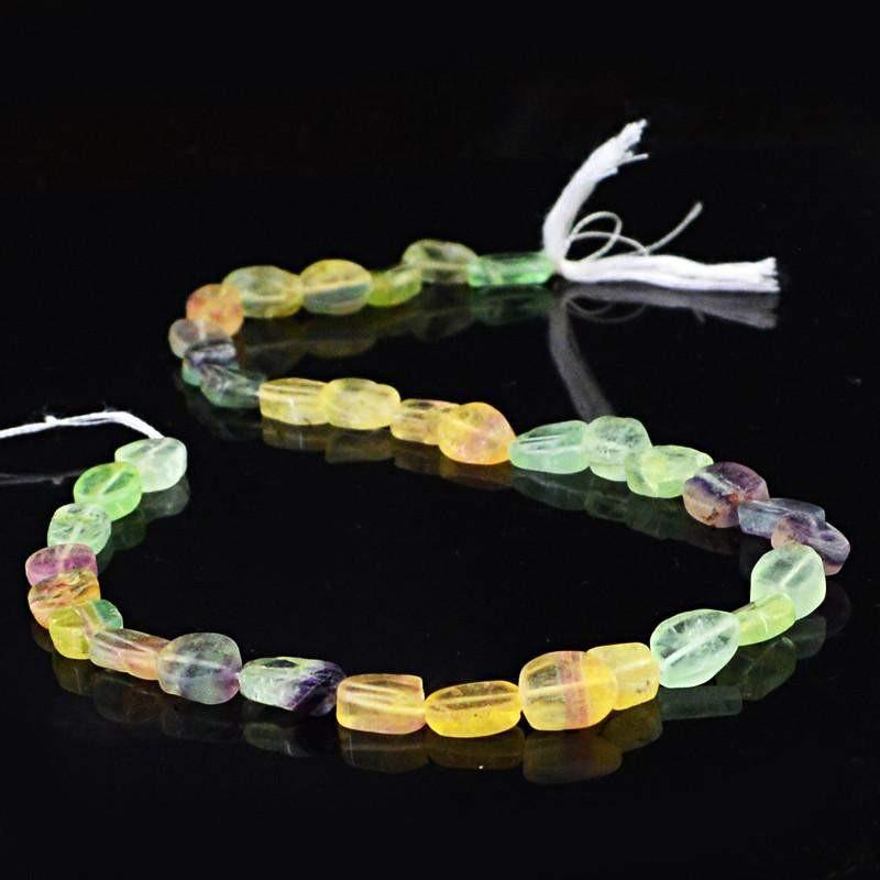 gemsmore:Natural Oval Shape Multicolor Fluorite Beads Strand