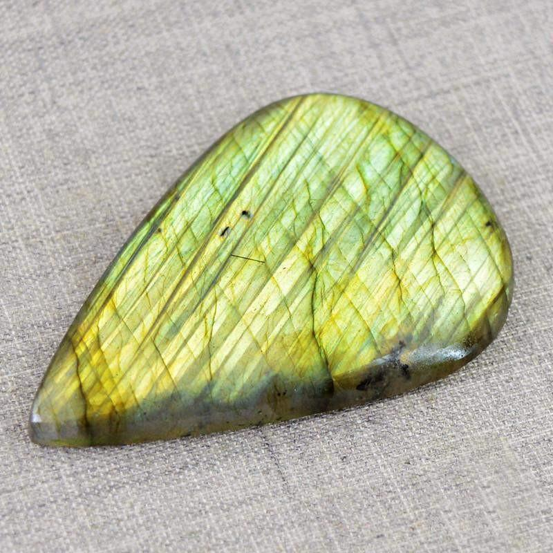 gemsmore:Natural Pear Shape Golden Flash Labradorite Gemstone