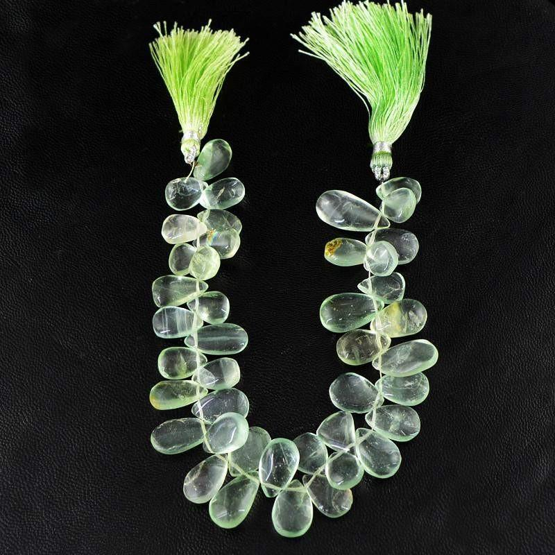 gemsmore:Natural Pear Shape Green Fluorite Beads Strand