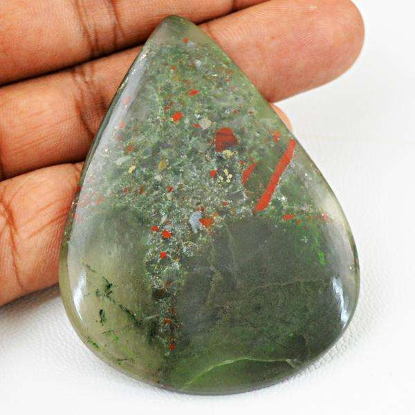 gemsmore:Natural Pear Shape Green Moss Agate Untreated Loose Gemstone