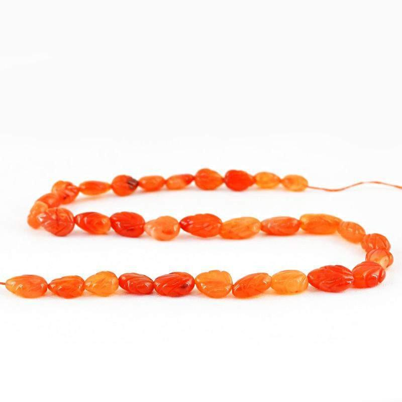 gemsmore:Natural Pear Shape Orange Carnelian Carved Beads Strand