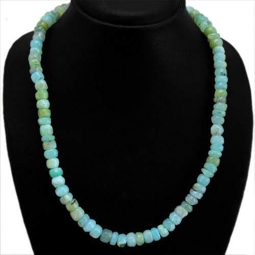 gemsmore:Natural Peruvian Opal Unheated Beads Necklace