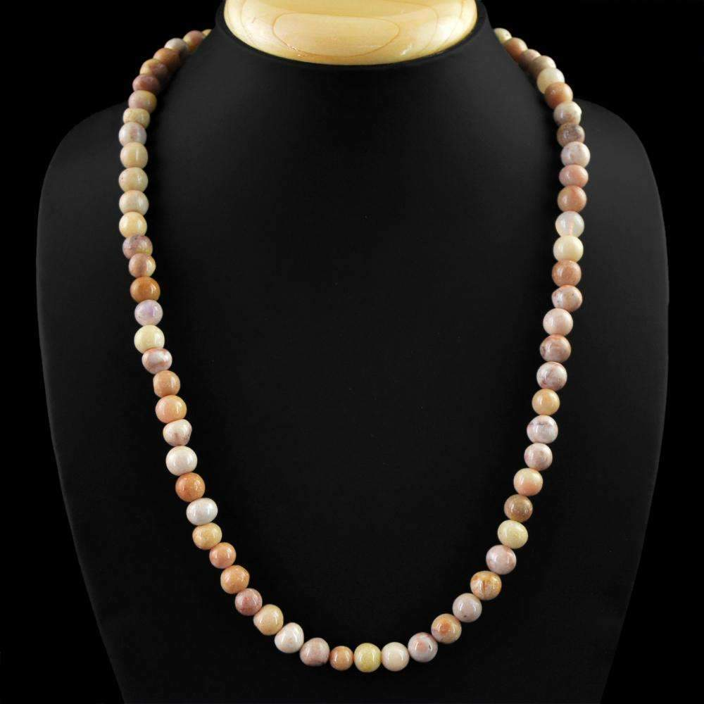 gemsmore:Natural Picasso Jasper Necklace Single Strand Round Shape Untreated Beads
