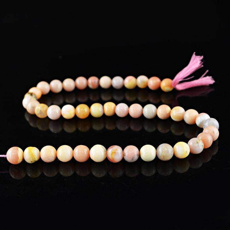 gemsmore:Natural Pink Australian Opal Beads Strand - Drilled Round Shape