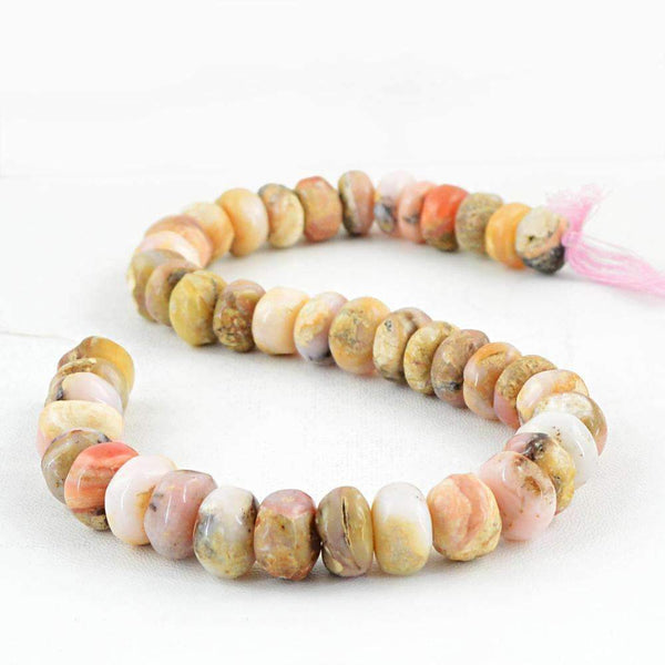 gemsmore:Natural Pink Australian Opal Beads Strand - Round Shape Drilled