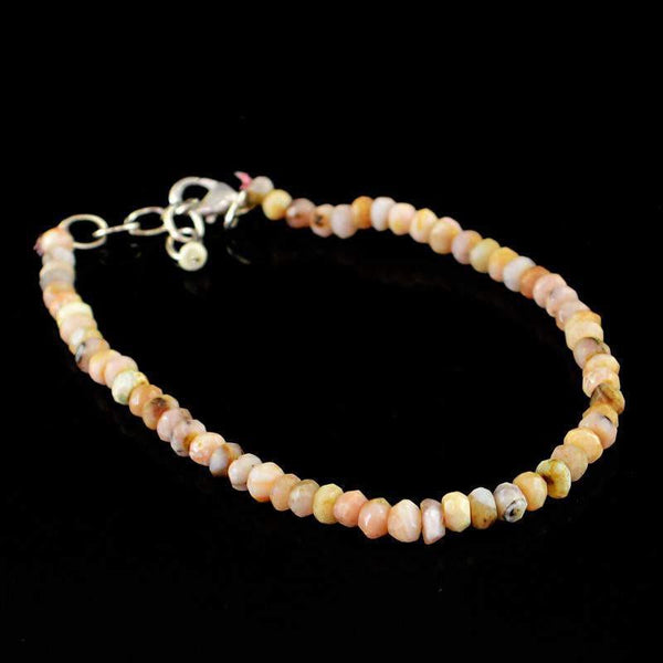 gemsmore:Natural Pink Australian Opal Bracelet Round Faceted Beads