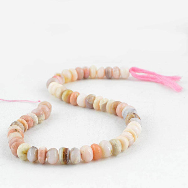 gemsmore:Natural Pink Australian Opal Drilled Beads Strand - Round Shape