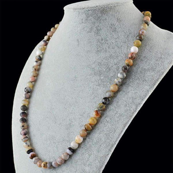 gemsmore:Natural Pink Australian Opal Necklace - 20 Inches Long Round Shape Beads