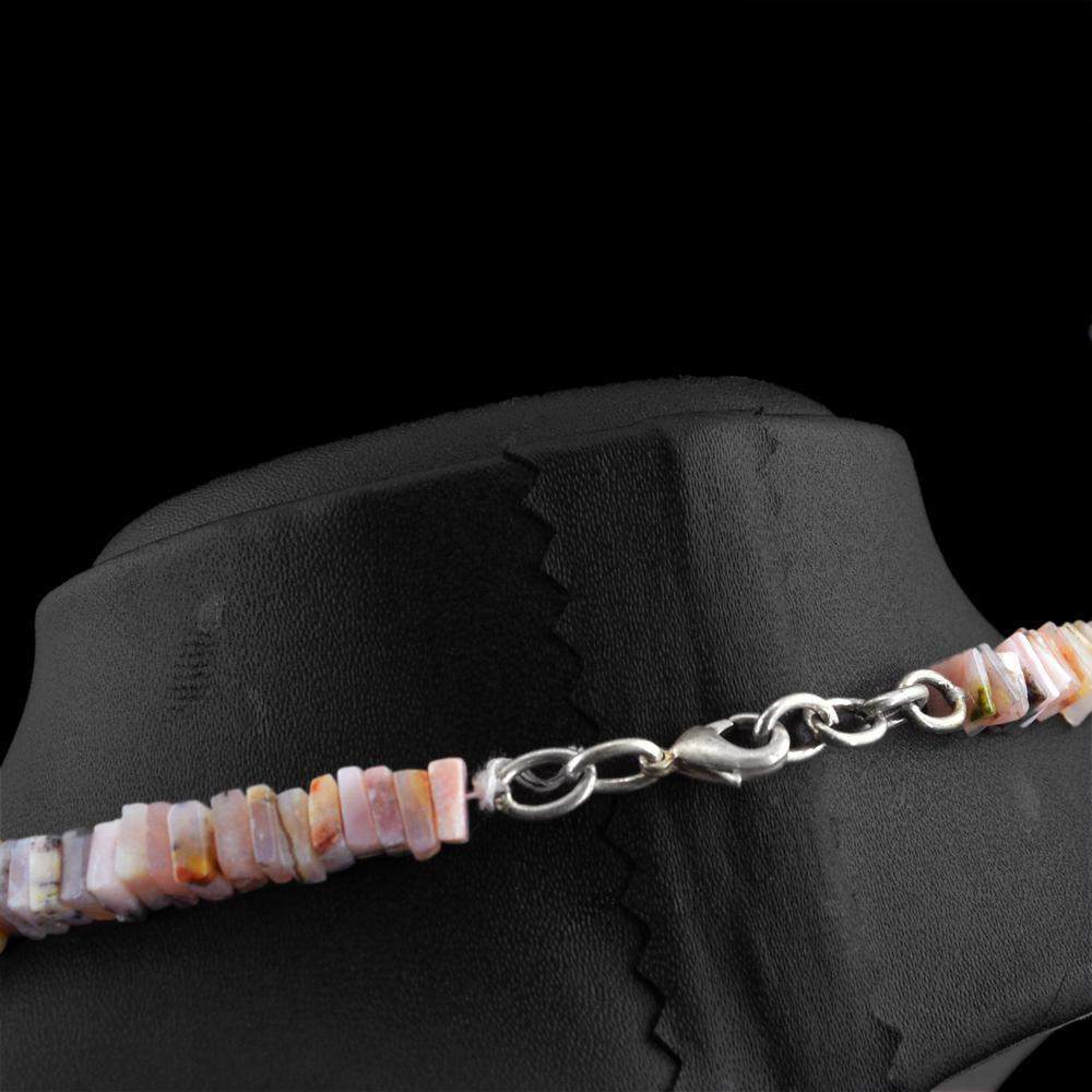 gemsmore:Natural Pink Australian Opal Necklace 20 Inches Long Untreated Beads