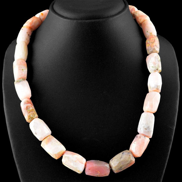 gemsmore:Natural Pink Australian Opal Necklace faceted Beads