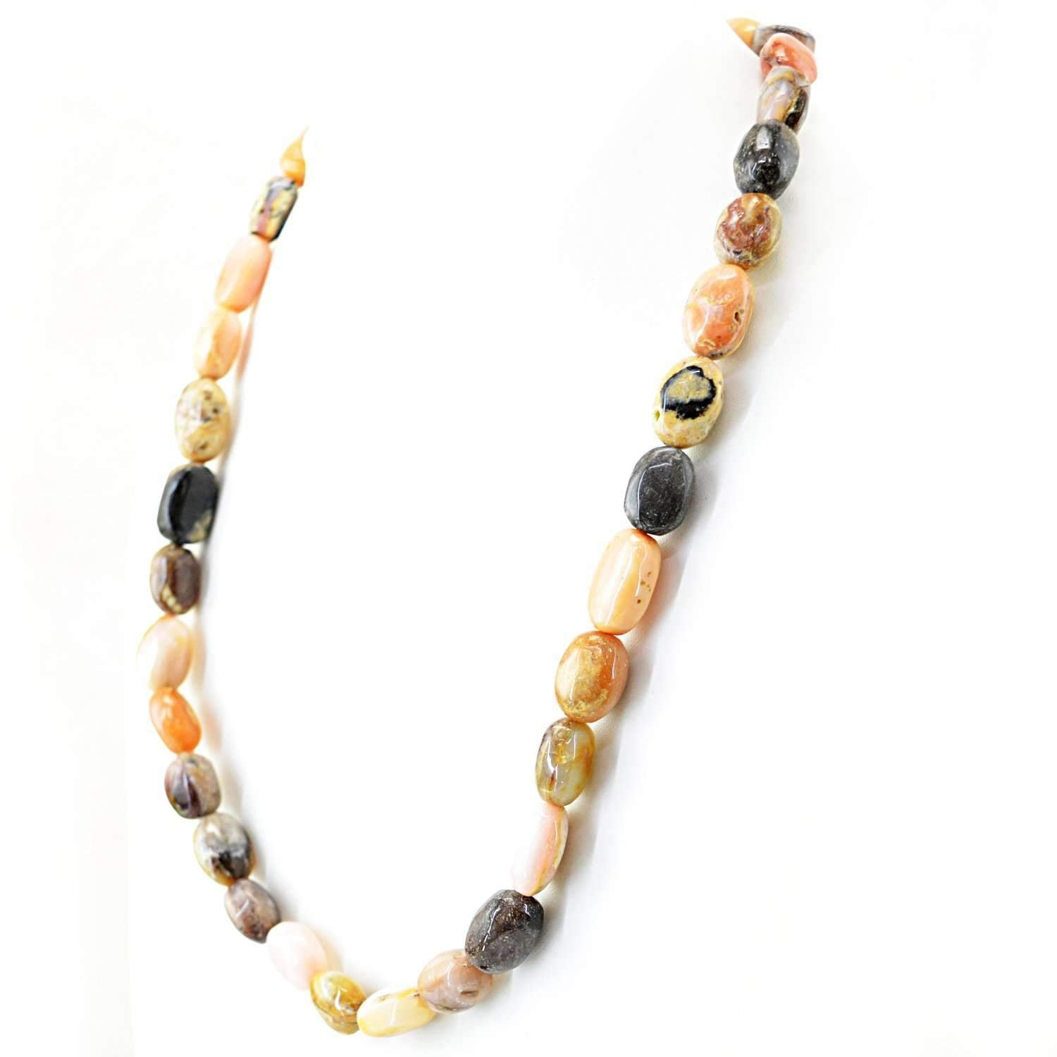 gemsmore:Natural Pink Australian Opal Necklace Untreated Beads