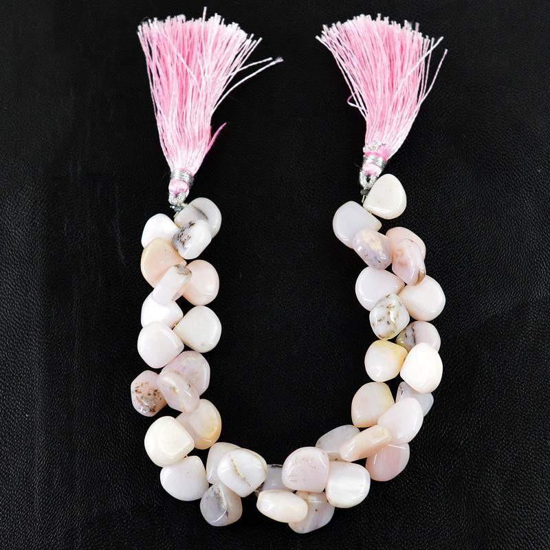 gemsmore:Natural Pink Australian Opal Untreated Drilled Beads Strand