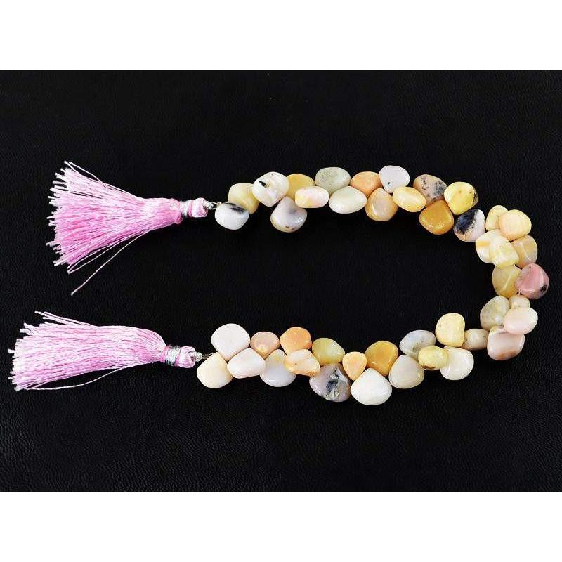 gemsmore:Natural Pink Australian Opal Untreated Tear Drop Beads Strand