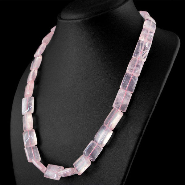 gemsmore:Natural Pink Rose Quartz Beads Necklace - Single Strand
