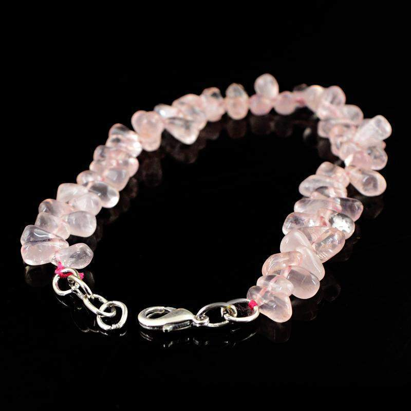 gemsmore:Natural Pink Rose Quartz Bracelet Tear Drop Beads