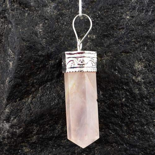 gemsmore:Natural Pink Rose Quartz Healing Point Pendant