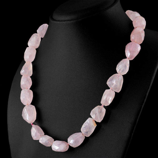 gemsmore:Natural Pink Rose Quartz Necklace 20 Inches Long Faceted Beads