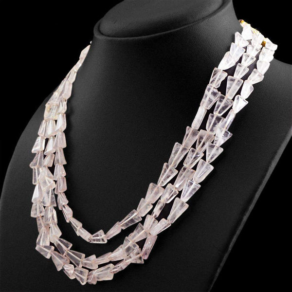 gemsmore:Natural Pink Rose Quartz Necklace 3 Line Untreated Beads