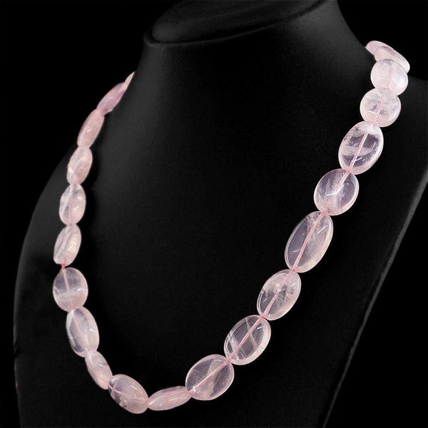 gemsmore:Natural Pink Rose Quartz Necklace Oval Shape Untreated Beads