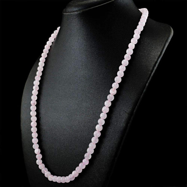 gemsmore:Natural Pink Rose Quartz Necklace Round Shape Beads