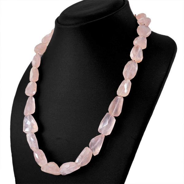 gemsmore:Natural Pink Rose Quartz Necklace Single Strand Faceted Beads