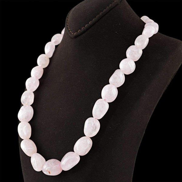 gemsmore:Natural Pink Rose Quartz Necklace Single Strand Untreated Beads