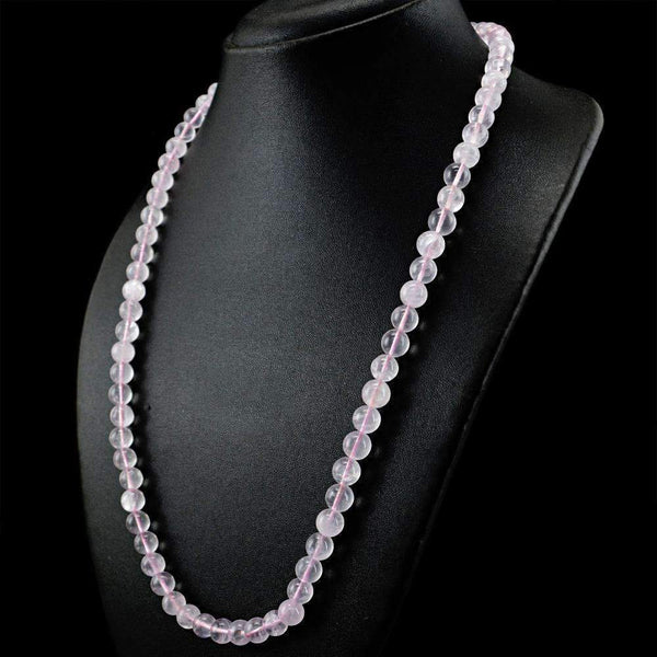 gemsmore:Natural Pink Rose Quartz Necklace Untreated Round Shape Beads