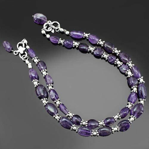 gemsmore:Natural Purple Amethyst Beads Anklet