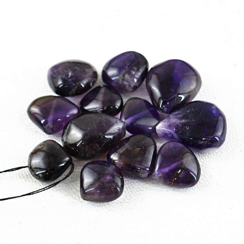 gemsmore:Natural Purple Amethyst Beads Lot - Drilled