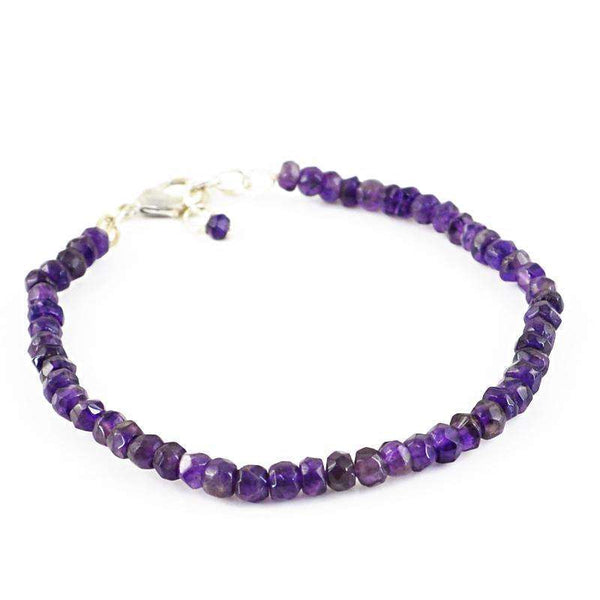 gemsmore:Natural Purple Amethyst Bracelet Faceted Round Shape Beads