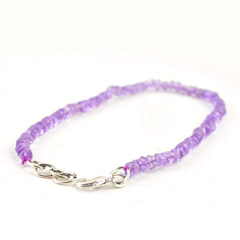 gemsmore:Natural Purple Amethyst Bracelet Round Shape Faceted Beads