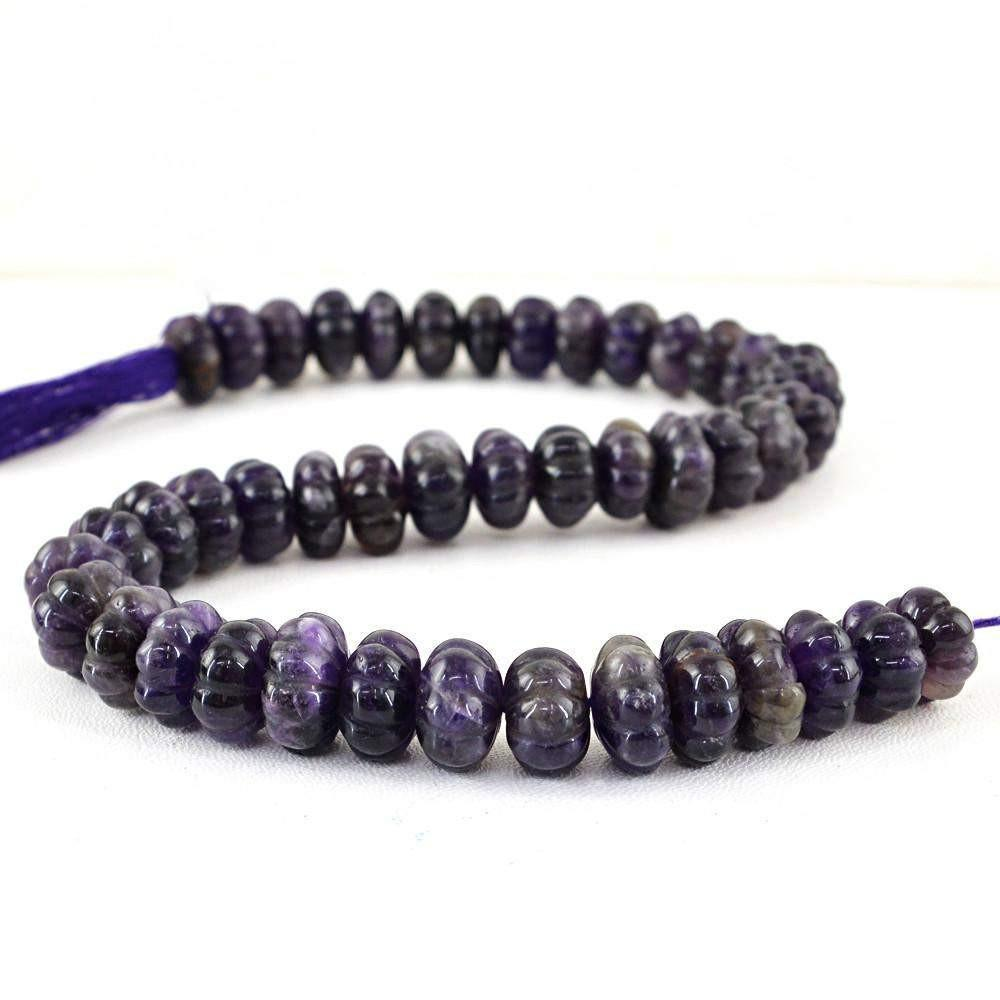 gemsmore:Natural Purple Amethyst Carved Beads Strand