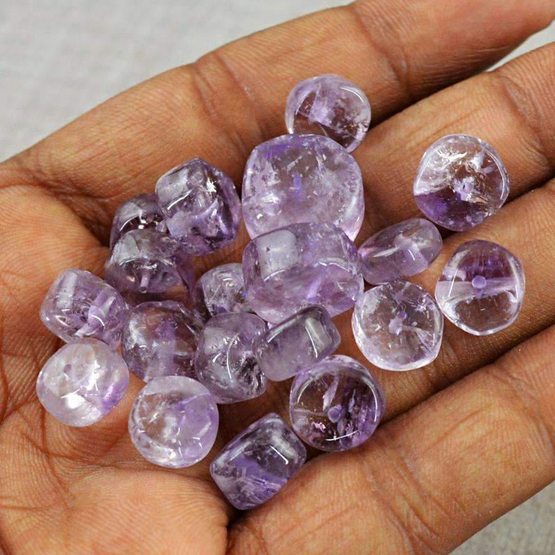 gemsmore:Natural Purple Amethyst Drilled Beads Lot - Wholesale Round Shape
