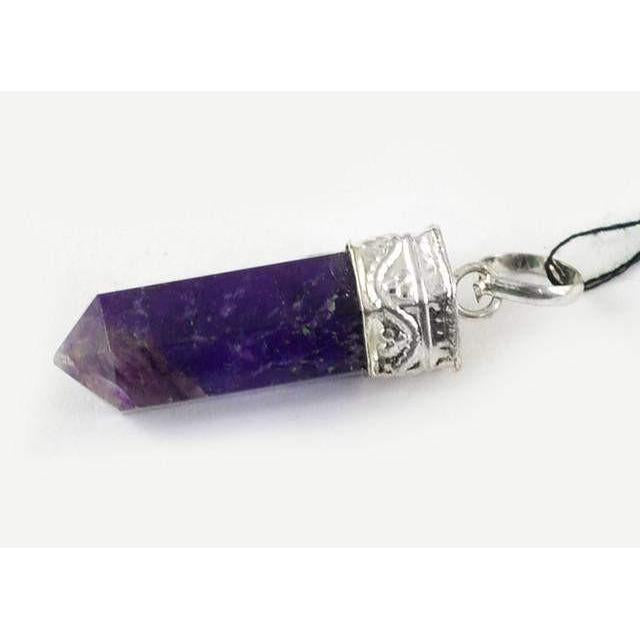 gemsmore:Natural Purple Amethyst Healing Point Pendant
