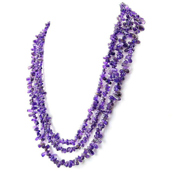 gemsmore:Natural Purple Amethyst Necklace 3 Line Tear Drop Beads