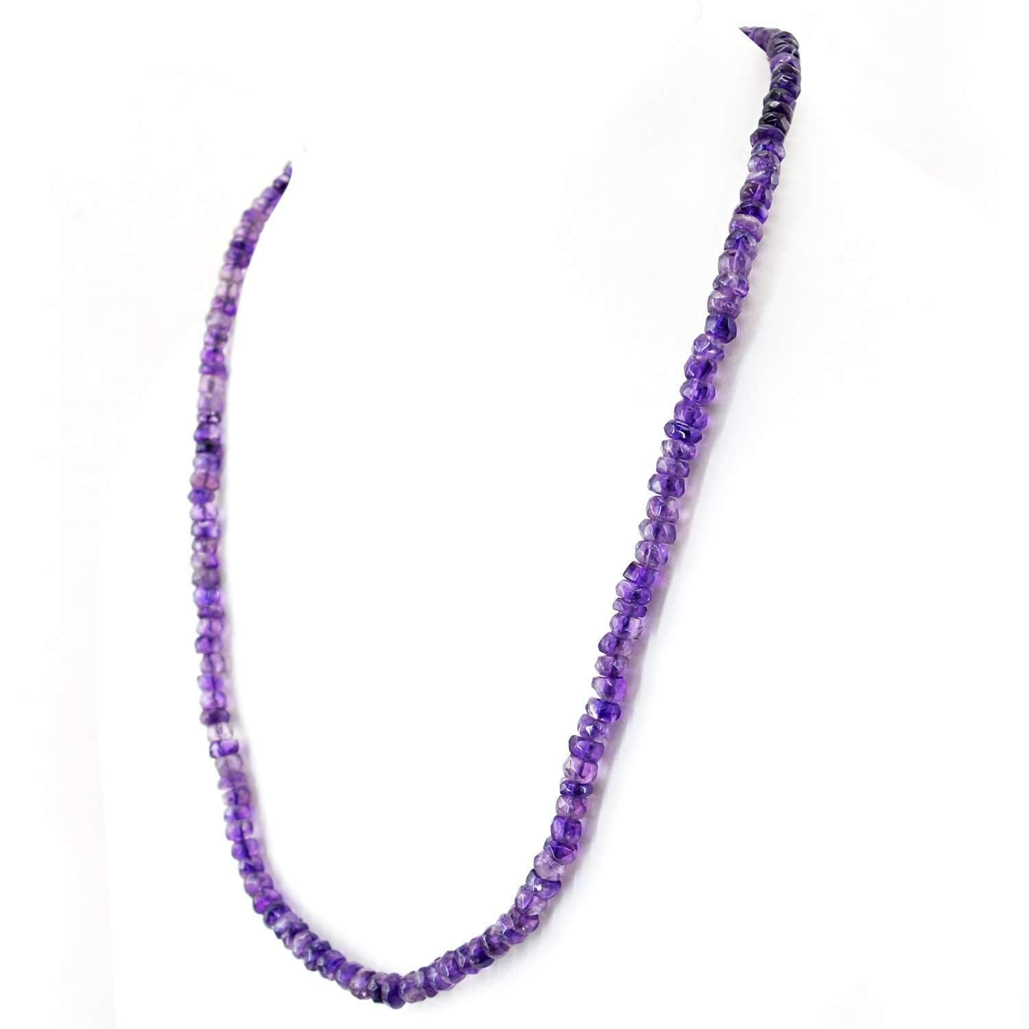 gemsmore:Natural Purple Amethyst Necklace Round Cut Beads