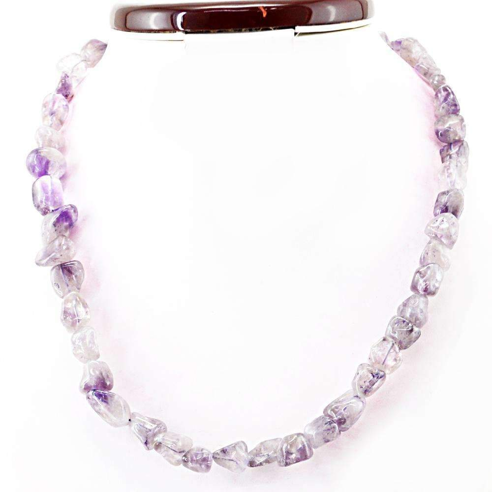 gemsmore:Natural Purple Amethyst Necklace Single Strand Untreated Beads