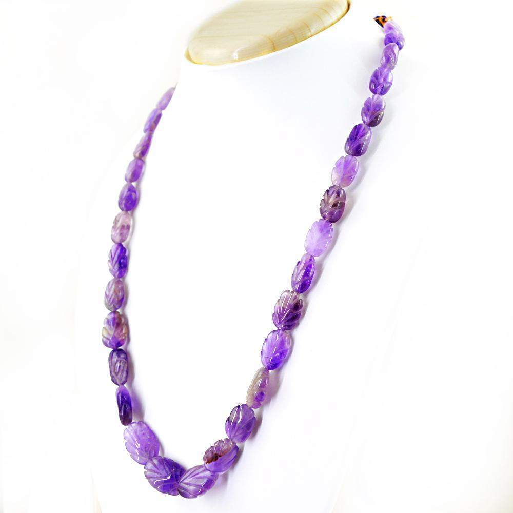 gemsmore:Natural Purple Amethyst Necklace Untreated Carved Beads